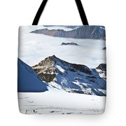 Skiing Down A Storm Tote Bag