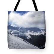 Skiing With A View Tote Bag by Fiona Kennard