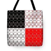 Skull Black Red White Pattern Background Tote Bag