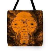 Skull In Negative Orange Tote Bag