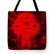 Skull In Negative Red Tote Bag
