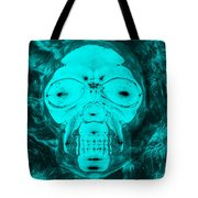Skull In Negative Turquois Tote Bag
