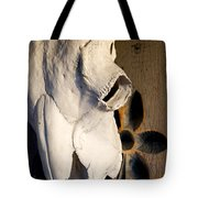 Skull On Door Tote Bag