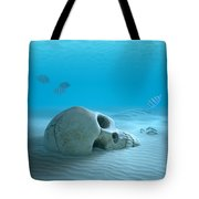 Skull On Sandy Ocean Bottom Tote Bag by Johan Swanepoel