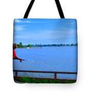 Sky Blue Calm Waters Fisherman On The Pier  Lachine Canal Montreal Summer Scenes Carole Spandau Tote Bag