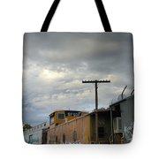 Sky Clouds And Graffiti Old Santa Fe Railyard Tote Bag