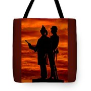 Sky Fire - 73rd Ny Infantry Fourth Excelsior Second Fire Zouaves-b1 Sunrise Autumn Gettysburg Tote Bag by Michael Mazaika