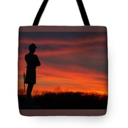 Sky Fire - Aotp 124th Ny Infantry Orange Blossoms-2a Sickles Ave Devils Den Sunset Autumn Gettysburg Tote Bag by Michael Mazaika