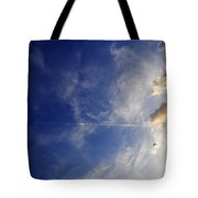 Sky Plane Bird From The Series The Imprint Of Man In Nature Tote Bag