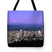 Skylines In A City With Mt Hood Tote Bag