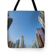 Skyscrapers Along Sheikh Zayed Road Tote Bag
