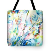 Slash Playing Live - Watercolor Portrait Tote Bag