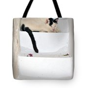Sleeping Cat In Serifos Town Tote Bag