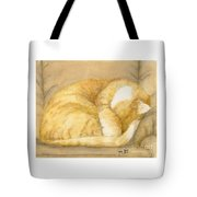 Sleeping Orange Tabby Cat Cathy Peek Animals Tote Bag