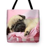 Sleeping Pug In Pink Basket Tote Bag by Greg Cuddiford