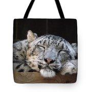 Sleeping Snow Leopard Tote Bag