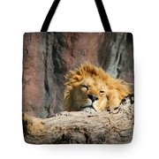 Sleepy Lion Tote Bag