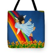 Sliding Down Rainbow Tote Bag