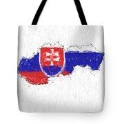 Slovakia Painted Flag Map Tote Bag
