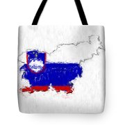 Slovenia Painted Flag Map Tote Bag