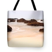 Slow Shutter Sea Around Rocks Tote Bag
