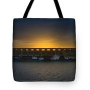 Small Boat Waiting In The Harbor Of Oostende Tote Bag