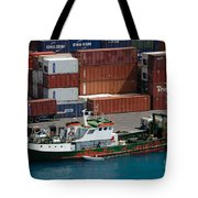 Small Boat With Cargo Containers Tote Bag