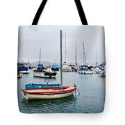 Small Boats At Lyme Regis Harbour Tote Bag