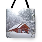 Small Cabin In The Snow Tote Bag