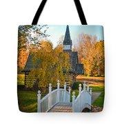 Small Chapel Across The Bridge In Fall Tote Bag