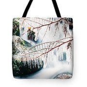 Small Creek Freezing Up Forming Icicles Tote Bag