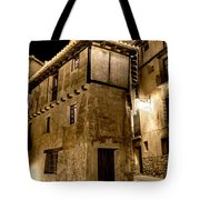 Small House In Albarracin At Night Tote Bag
