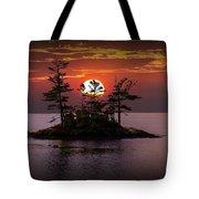 Small Island At Sunset Tote Bag