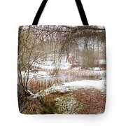 Small Lake In The Snow Tote Bag