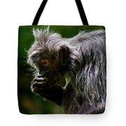 Small Monkey Eating Tote Bag
