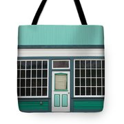Small Store Front Entrance To Green Wooden House Tote Bag