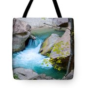 Small Virgin River Waterfall In Zion Canyon Narrows In Zion Np-ut Tote Bag