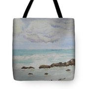 Small Waves Breaking Near Rocks Tote Bag