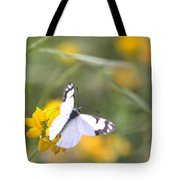 Small White Butterfly On Yellow Flower Tote Bag