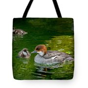 Smew With Ducklings Tote Bag