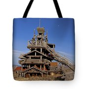 Smith Mansion Panoramic With Moon  55x66 Tote Bag