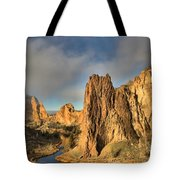 Smith Rock Foggy Morning Tote Bag