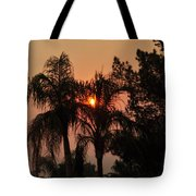 Smoke Covered Sky Sunset Thru The Palm Trees Tote Bag