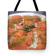 Smoked Salmon Pizza Closeup Tote Bag
