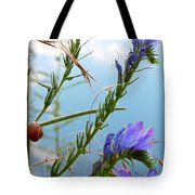 Snail On Flowers Tote Bag