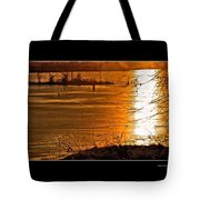 Snow And Ice Sunset Tote Bag