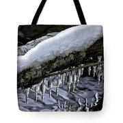 Snow And Icicles Merry Christmas Card Tote Bag