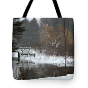 Snow And Stream Tote Bag