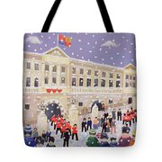 Snow At Buckingham Palace Tote Bag by William Cooper