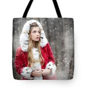 Snow Beauty In Red Tote Bag